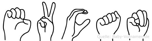 Evcan im Fingeralphabet der Deutschen Gebärdensprache
