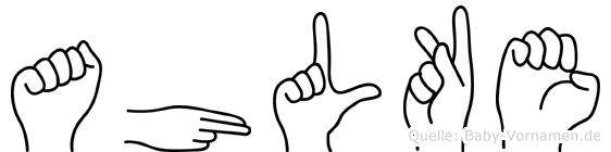 Ahlke im Fingeralphabet der Deutschen Gebärdensprache