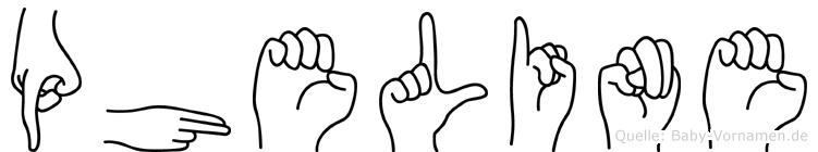 Pheline im Fingeralphabet der Deutschen Gebärdensprache