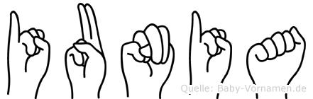 Iunia im Fingeralphabet der Deutschen Gebärdensprache