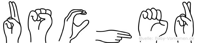 Uscher im Fingeralphabet der Deutschen Gebärdensprache