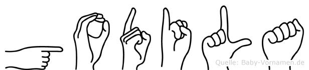Godila im Fingeralphabet der Deutschen Gebärdensprache