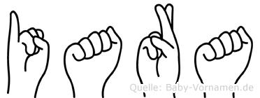 Iara im Fingeralphabet der Deutschen Gebärdensprache