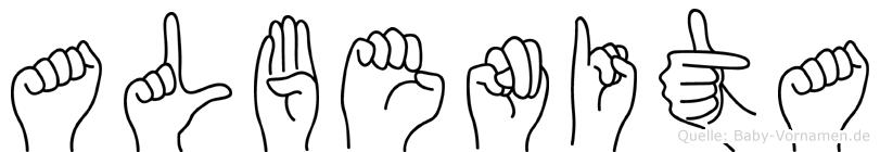 Albenita im Fingeralphabet der Deutschen Gebärdensprache