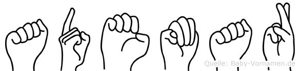 Ademar im Fingeralphabet der Deutschen Gebärdensprache