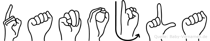 Danojla im Fingeralphabet der Deutschen Gebärdensprache