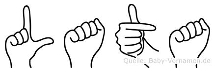 Lata im Fingeralphabet der Deutschen Gebärdensprache
