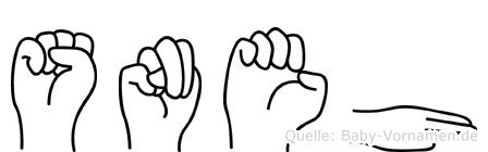 Sneh im Fingeralphabet der Deutschen Gebärdensprache