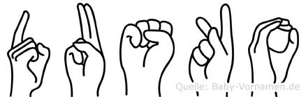 Dusko im Fingeralphabet der Deutschen Gebärdensprache