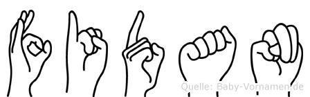 Fidan im Fingeralphabet der Deutschen Gebärdensprache