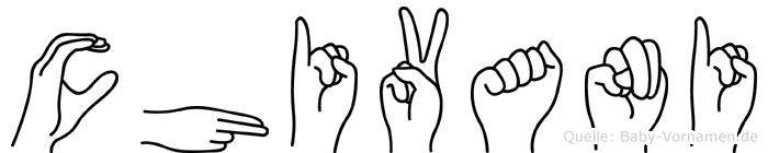 Chivani im Fingeralphabet der Deutschen Gebärdensprache