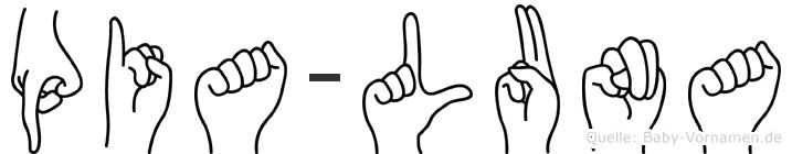Pia-Luna im Fingeralphabet der Deutschen Gebärdensprache