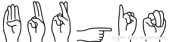 Burgin im Fingeralphabet der Deutschen Gebärdensprache