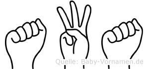 Awa in Fingersprache für Gehörlose