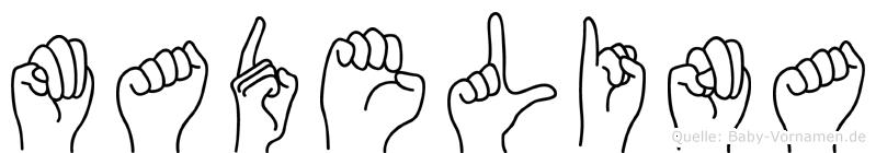 Madelina im Fingeralphabet der Deutschen Gebärdensprache
