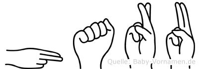 Haru im Fingeralphabet der Deutschen Gebärdensprache