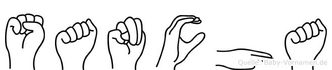 Sancha im Fingeralphabet der Deutschen Gebärdensprache