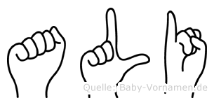 Ali im Fingeralphabet der Deutschen Gebärdensprache
