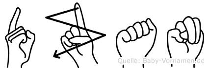 Dzan in Fingersprache für Gehörlose