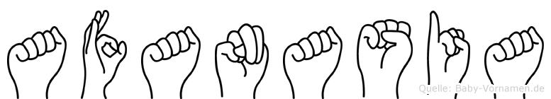 Afanasia im Fingeralphabet der Deutschen Gebärdensprache
