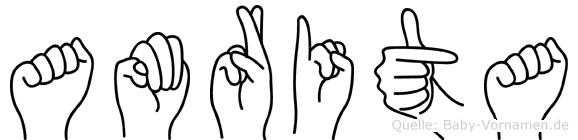 Amrita im Fingeralphabet der Deutschen Gebärdensprache
