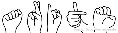 Arite im Fingeralphabet der Deutschen Gebärdensprache