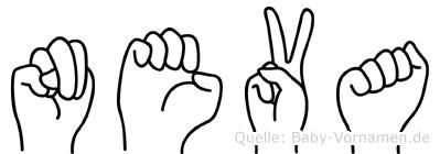 Neva im Fingeralphabet der Deutschen Gebärdensprache