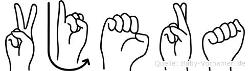Vjera im Fingeralphabet der Deutschen Gebärdensprache