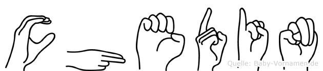 Chedin im Fingeralphabet der Deutschen Gebärdensprache