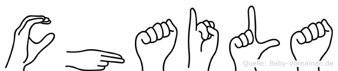 Chaila im Fingeralphabet der Deutschen Gebärdensprache