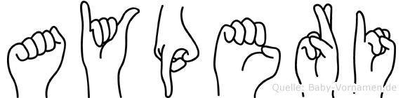 Ayperi im Fingeralphabet der Deutschen Gebärdensprache