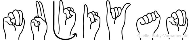 Nujiyan im Fingeralphabet der Deutschen Gebärdensprache