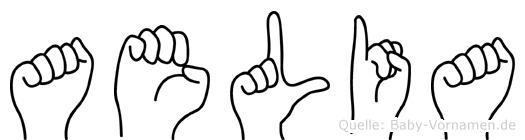 Aelia im Fingeralphabet der Deutschen Gebärdensprache