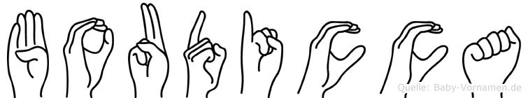 Boudicca im Fingeralphabet der Deutschen Gebärdensprache