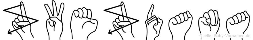 Zwezdana im Fingeralphabet der Deutschen Gebärdensprache