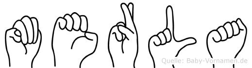 Merla im Fingeralphabet der Deutschen Gebärdensprache