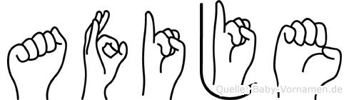 Afije im Fingeralphabet der Deutschen Gebärdensprache