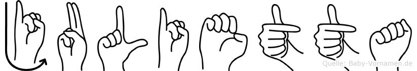 Julietta im Fingeralphabet der Deutschen Gebärdensprache