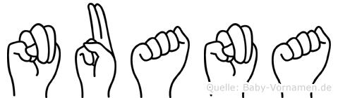Nuana im Fingeralphabet der Deutschen Gebärdensprache