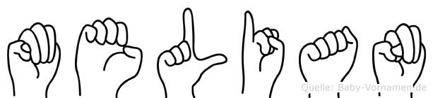 Melian im Fingeralphabet der Deutschen Gebärdensprache