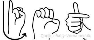 Jet im Fingeralphabet der Deutschen Gebärdensprache