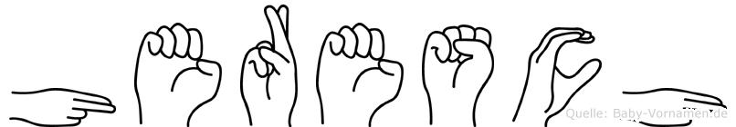 Heresch im Fingeralphabet der Deutschen Gebärdensprache
