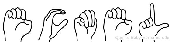 Ecmel im Fingeralphabet der Deutschen Gebärdensprache