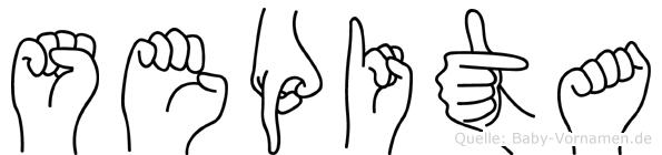 Sepita im Fingeralphabet der Deutschen Gebärdensprache