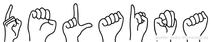 Delaina im Fingeralphabet der Deutschen Gebärdensprache