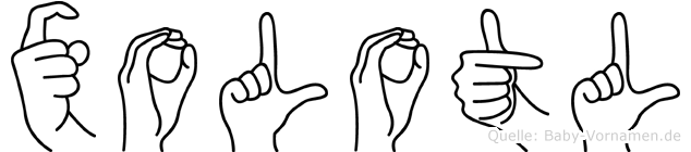 Xolotl im Fingeralphabet der Deutschen Gebärdensprache