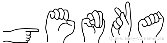 Genka im Fingeralphabet der Deutschen Gebärdensprache
