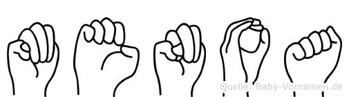 Menoa im Fingeralphabet der Deutschen Gebärdensprache