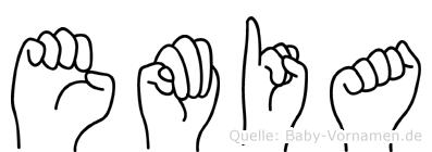Emia im Fingeralphabet der Deutschen Gebärdensprache