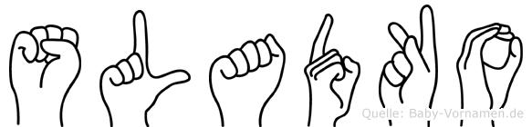 Sladko im Fingeralphabet der Deutschen Gebärdensprache